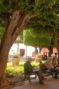 Alguién Leyendo. Plaza principal SMA.